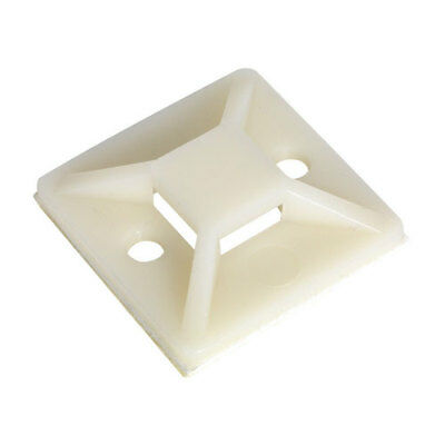 Sealey CTM2525W Self-Adhesive Cable Tie Mount 25 x 25mm White Pack of 100