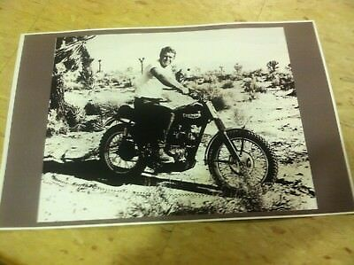 Vintage Steve McQueen Triumph Motorcycle Poster Advertisement Man Cave Gift