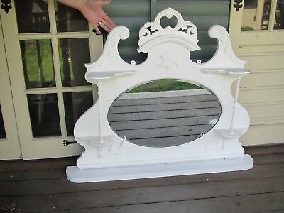 Victorian Ornate overmantle with mirror and shelf