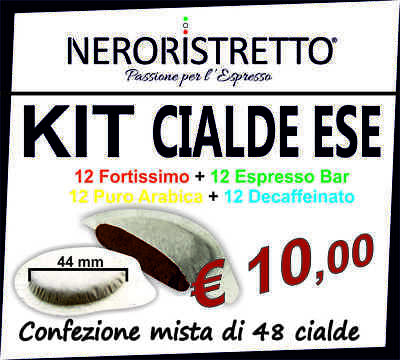 KIT ASSAGGIO 50 Cialde capsule caffe CARTA FILTRO ESE 44mm GUSTI ASSORTITI