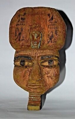 Beautiful Color Ancient Egyptian antiques Royal Wooden Mask With (cobra) Uraeus