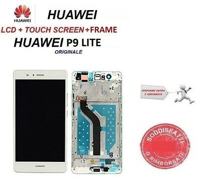 Display LCD HUAWEI P9 LITE FRAME VNS-L31 L23 Originale TOUCH SCREEN BIANCO vetro