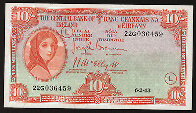 Central Bank of Ireland 10 Shillings 1943 War Code L. First date. GVF