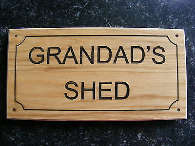 Wooden Man Cave She Shed Sign House Door Plaque Grand Dad Papa Gift Idea Present