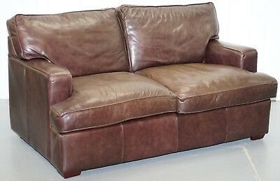 Rrp £2199 Laura Ashley Vintage Heritage Brown Leather 2 Seater Sofa Compact Arms
