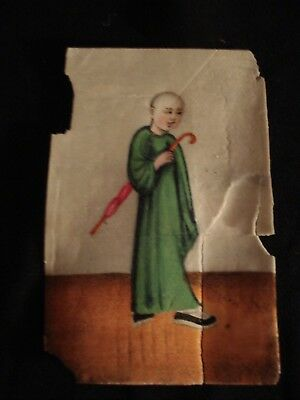 Miniature Oriental Watercolour On Rice Paper For Restoration
