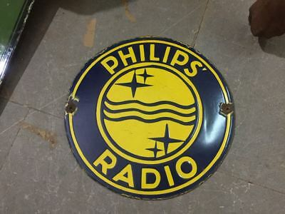 """Porcelain Philips Radio Sign SIZE 14"""" INCHES Pre-Owned"""