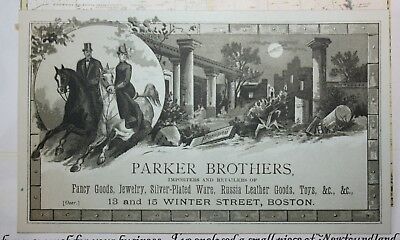 1870's Parker Brothers Boston Toys Jewelry Fancy Goods  Trade Card - Store Move