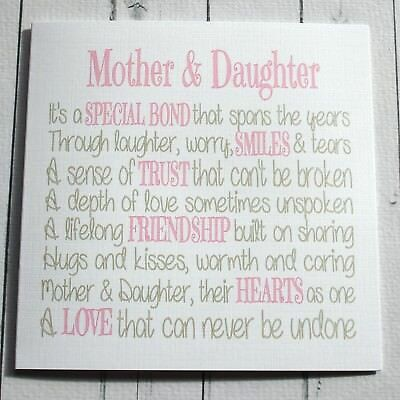 BIRTHDAY CARD FOR MUM MOTHER DAUGHTER Birthday Card Any Occasion WEDDING