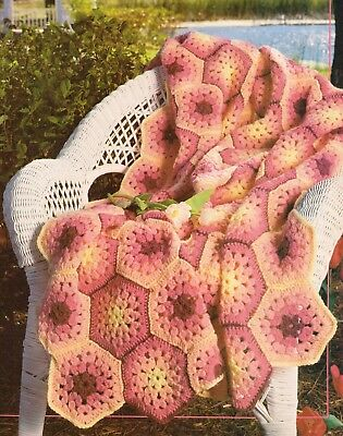 Summer Hexagon Afghan Crochet Pattern Instructions 150 Picclick
