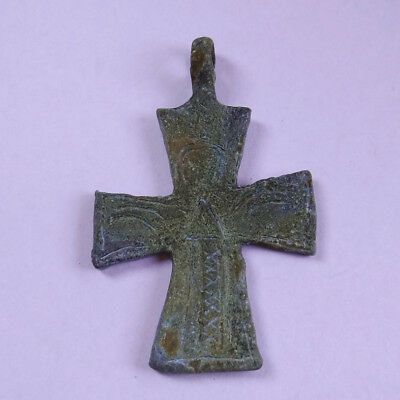 Byzantine Ancient Artifact Bronze Cross With Prayer Saint