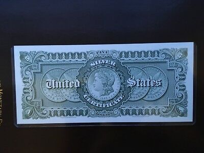 BEP Proof Print or Intaglio Impression of $5 Silver Certificate 1886 Back