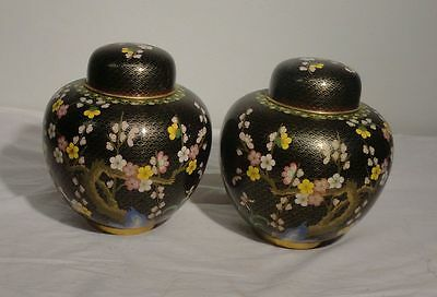 Vintage Pair of Chinese Cloisonne Decorative Large 20th Century Ginger Jars