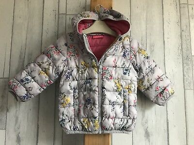 Baby Girls NEXT Grey Pink Floral Padded Jacket With Hood Age 9-12 Months