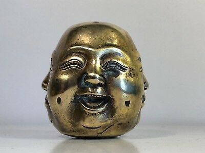 Antique Four Face 4 Seasons Lucky Laughing Buddha Bronzed Brass Paperweight