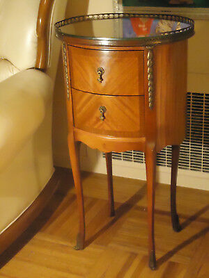 Antique Vintage  Wood Brass Oval Side Table with 2 Drawers and Glass Top
