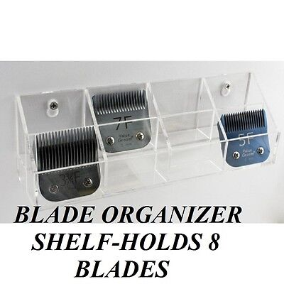 Wall Mountable 8 CLIPPER BLADE ORGANIZER Shelf HOLDER for Oster,Andis,Wahl,etc