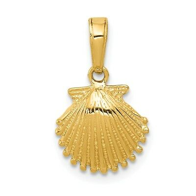 14k Yellow Gold Small Textured Scallop Shell Pendant