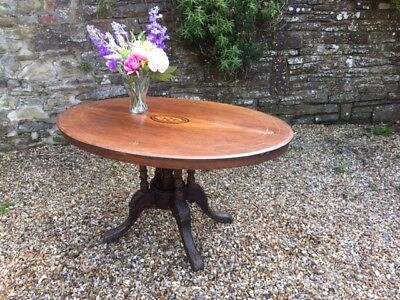 Antique Inlaid Victorian Carved Oval Tilt Snap Top Loo Breakfast Dining Table