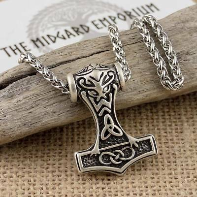 Viking Thors Hammer Norse Pendant With Wheat Chain Necklace Silver Tone