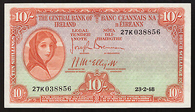 Central Bank of Ireland Ten Shillings. 1948, Nice GVF to About EF