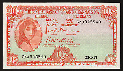 Central Bank of Ireland Ten Shillings. 1947, Nice Good VF to About EF