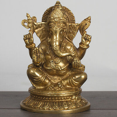 """Brass Lord Ganesha Ganesh 8"""" Statue - Good Luck Protection / Blessing Home"""