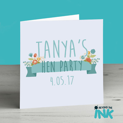 Personalised Hen Party Card - Hen Night - Hen Do - Engagement - Floral