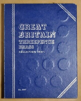 1937 to 1967 Great Britain Threepence Brass Whitman Coin Album - 32 Coins #