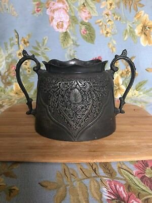 Vintage Peuter Double Handled Sugar Pot With Engraving, Ornament