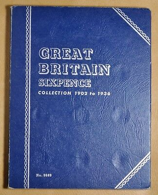 1902 to 1936 Great Britain Sixpence Silver Whitman Coin Album - 33 Coins #
