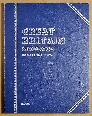 1937 to 1967 Great Britain Sixpence Silver & Clad Whitman Coin Album - 34 Coins#