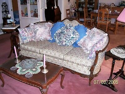 Antique Sofa, dark wood, floral upholstery, 3 cushions, w/matching Coffee Table