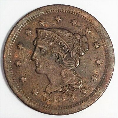 1852 Braided Hair Large Cent Beautiful High Grade Coin