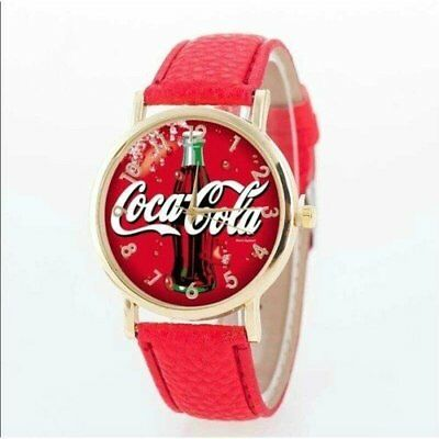 Coca Cola Watch Unisex Quartz Movement Ss Case Brand New Red Face And Belt Band