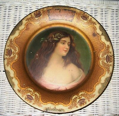 Antique Dr. Pepper Vienna Art Plate with Victorian Lady - rare