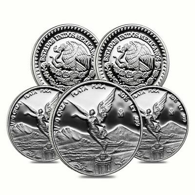 Lot of 5 - 2016 1/10 oz Mexican Silver Libertad Coin .999 Fine Proof (In Cap)