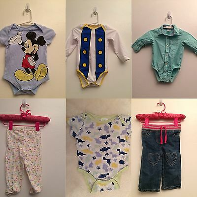 Lots Of 6 Pcs Infants Bodysuit One piece Jeans Leggings Falls Creek Disney 6-9m