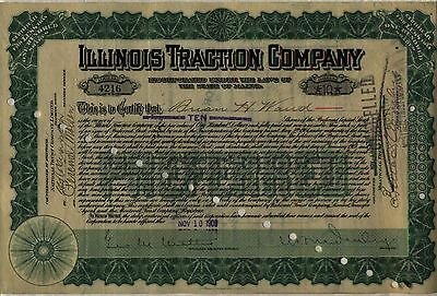 Illinois Traction Company Stock Certificate Maine