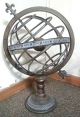 RARE!! SteamPunk Vintage Fleur De Lis Arrow Rotating Globe 2FT Tall X 16""