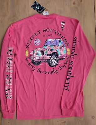 "NWT Simply Southern Long Sleeve Jeep TShirt ""Be Classy Live Simply"" Size Large"