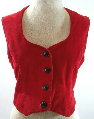 Vintage 1940s Womens Small Red Corduroy Vest Button Up Tailored