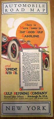 1920's GULF Refining Co. New York Road Map - Oil and Gasoline