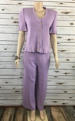 St. John Collection by Marie Gray 3 Piece Lavender Suit Jacket Shell & Pants