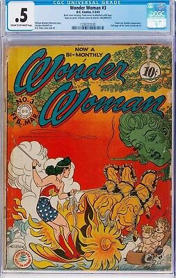 Wonder Woman #3 CGC 0.5 Cream to Off-White Pages Golden Age Unrestored