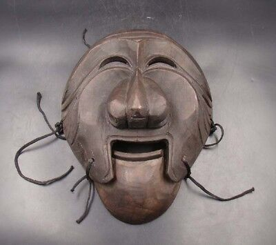 280mm Handmade Carving Painting colored drawing wood Mask Deco Art