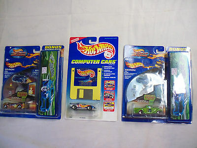 "Lot of 3 Hot Wheels Computer Disk Two Cars W/CD-ROM & One W/ 3.5"" Floppy Disk"