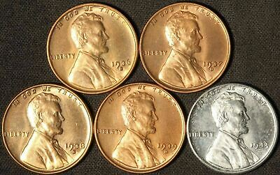 1936-S, 1937-D, 1938-S 1939-D and 1943-P Lincoln Cents - Free Shipping USA