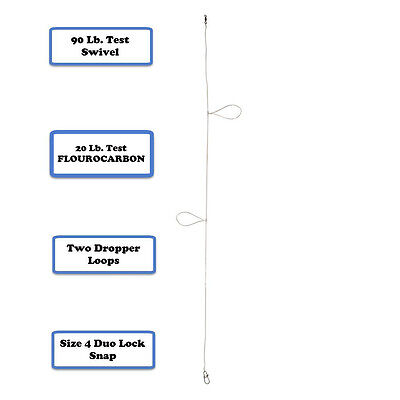 10 Fluorocarbon Dropper Loop Fishing Rigs (no hooks)
