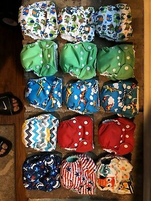Newborn Cloth Diaper Lot -11 THX, 3 Happy Flute, 1 Lil Joey (Lot of 15 total)